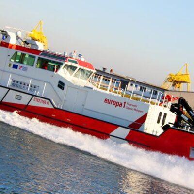 Implantation d'un bateau-pompe franco-allemand sur le Rhin «EUROPA 1»
